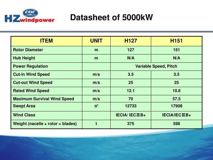 Datasheet of 5000kW