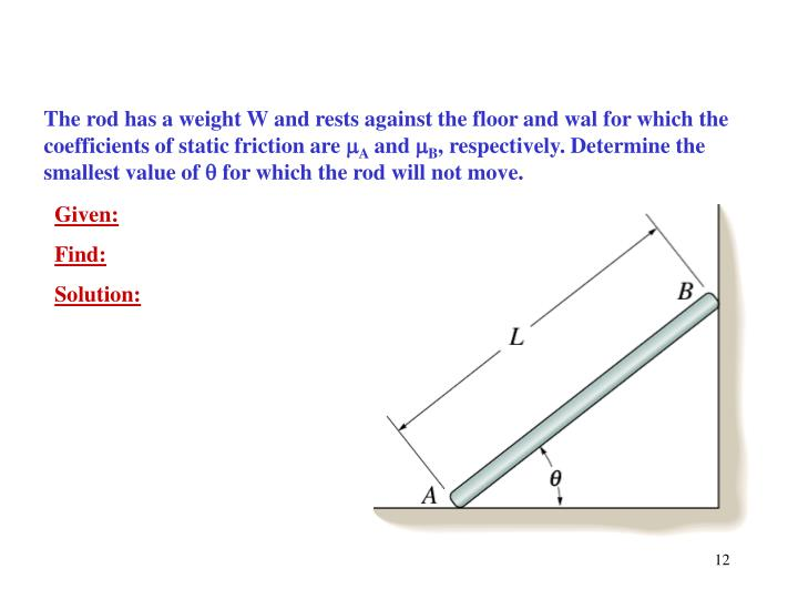 The rod has a weight W and rests against the floor and wal for which the coefficients of static friction are