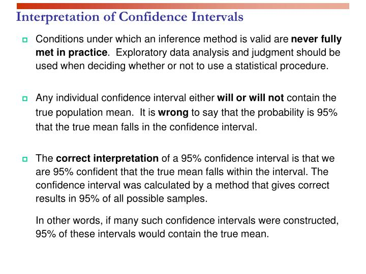 Interpretation of confidence intervals