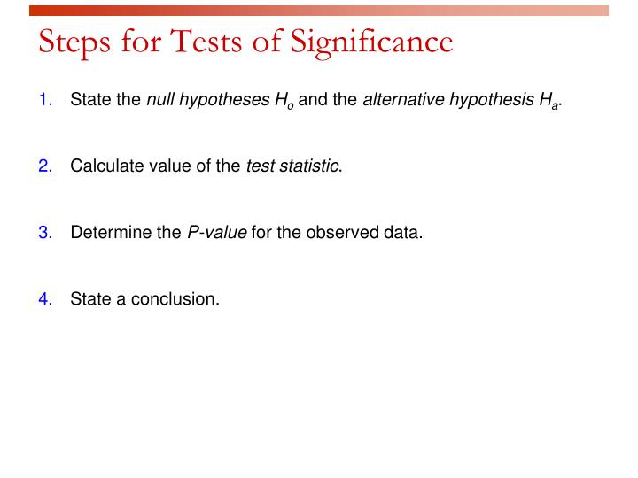 Steps for Tests of Significance