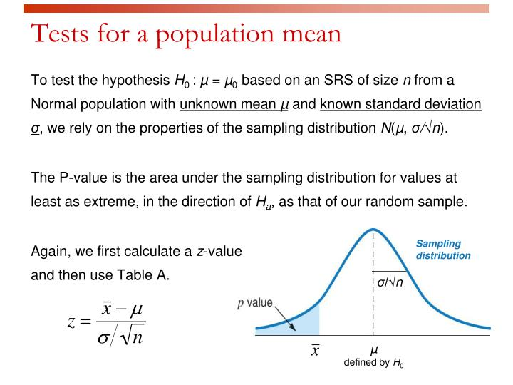 Tests for a population mean