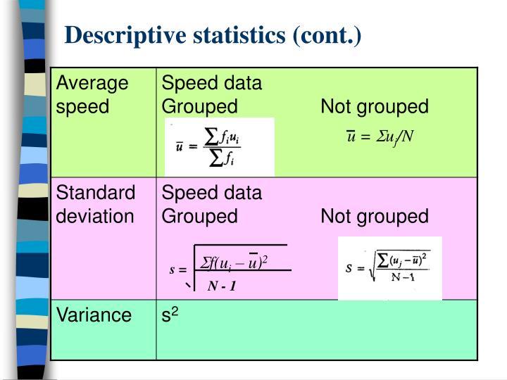 Descriptive statistics (cont.)