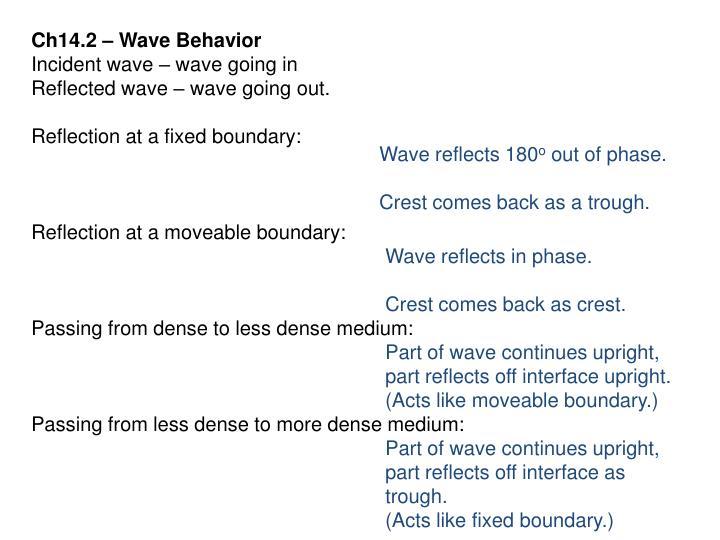 Ch14.2 – Wave Behavior