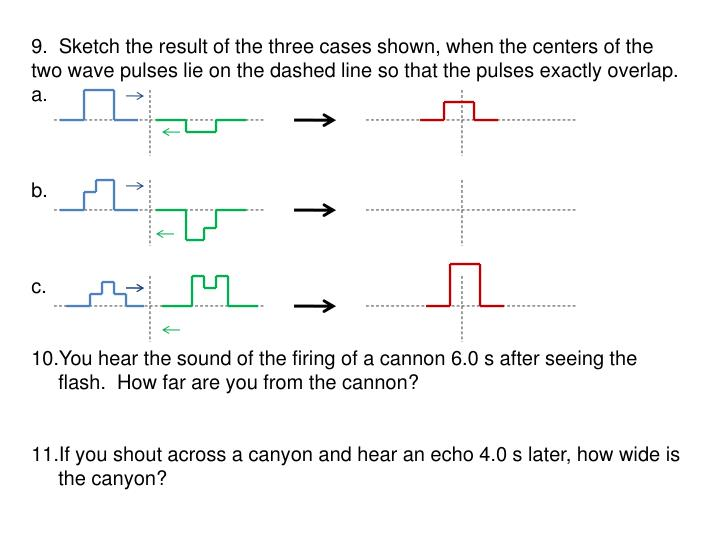 9.  Sketch the result of the three cases shown, when the centers of the