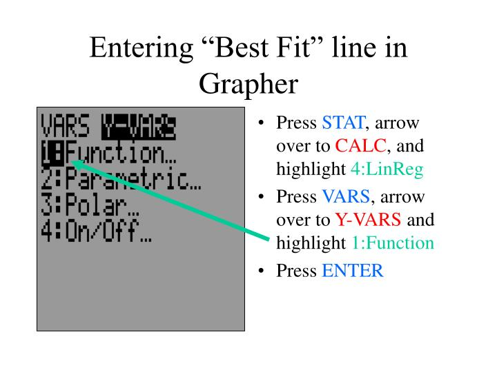 """Entering """"Best Fit"""" line in Grapher"""