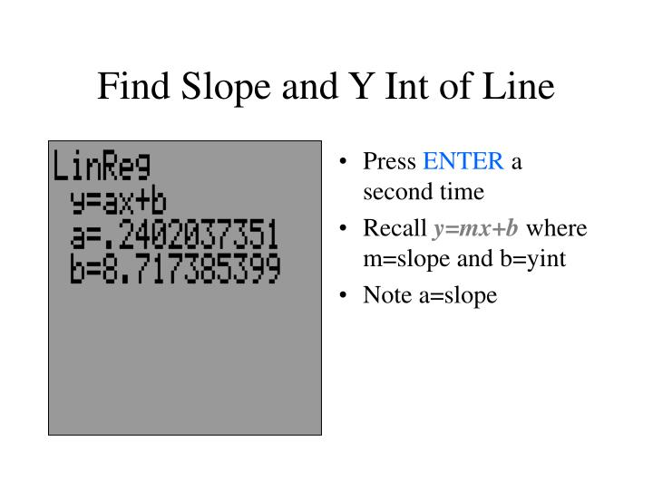 Find Slope and Y Int of Line