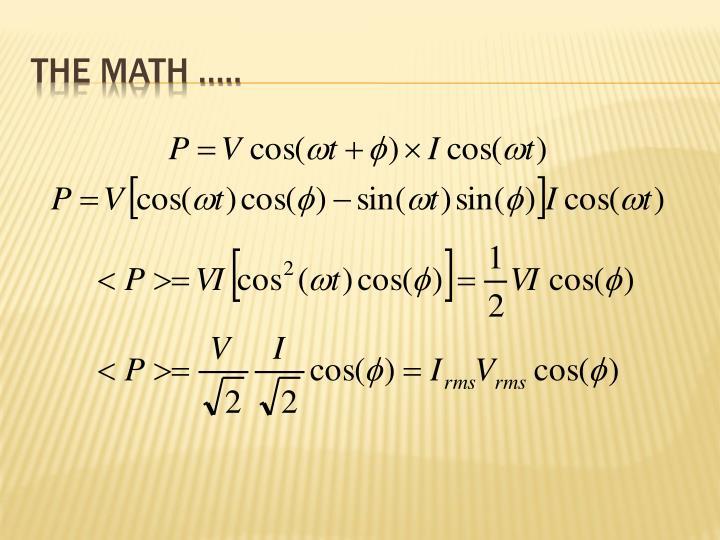 The Math …..