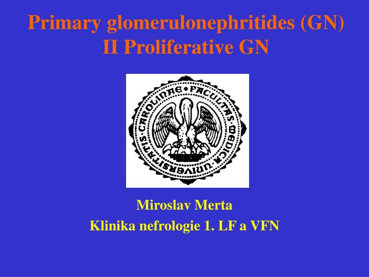 Primary glomerulonephritides gn ii proliferative gn