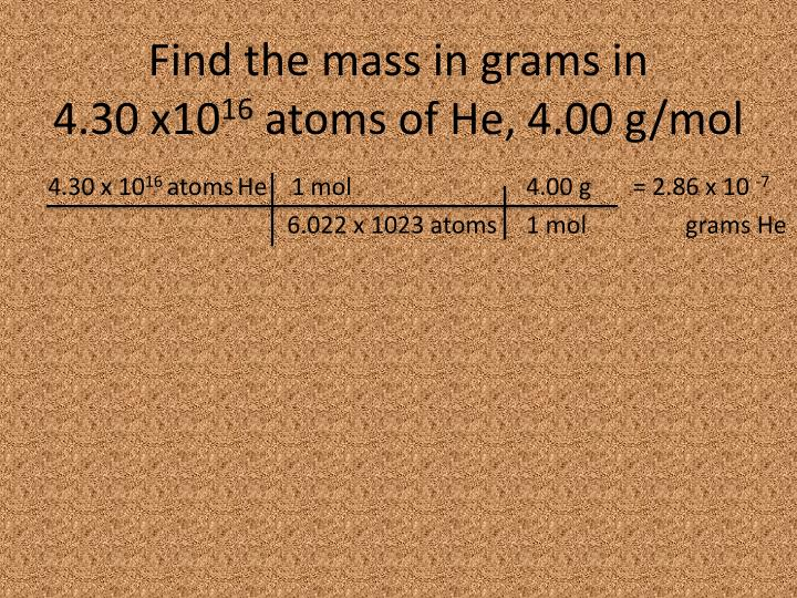 Find the mass in grams in