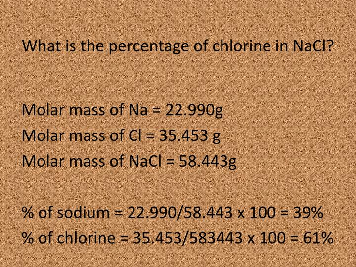 What is the percentage of chlorine in