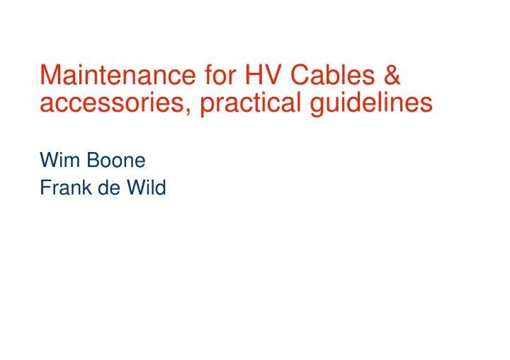 Maintenance for hv cables accessories practical guidelines