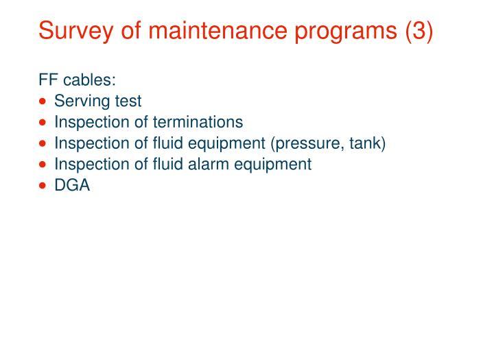 Survey of maintenance programs (3)