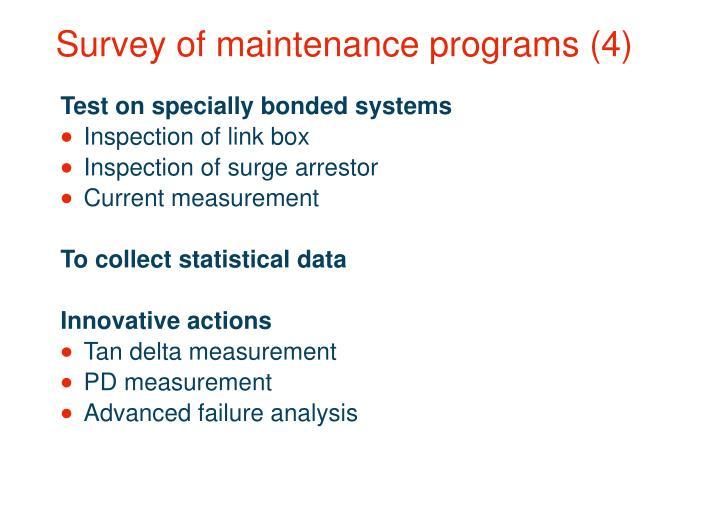 Survey of maintenance programs (4)