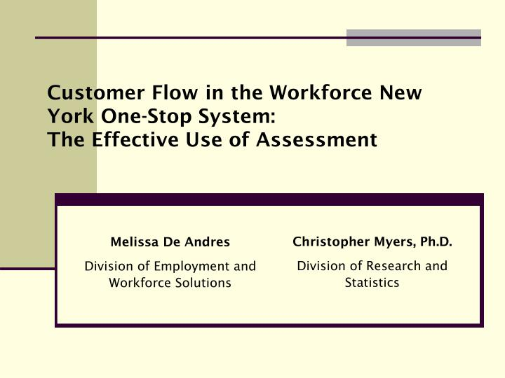 Customer Flow in the Workforce New York One-Stop System: