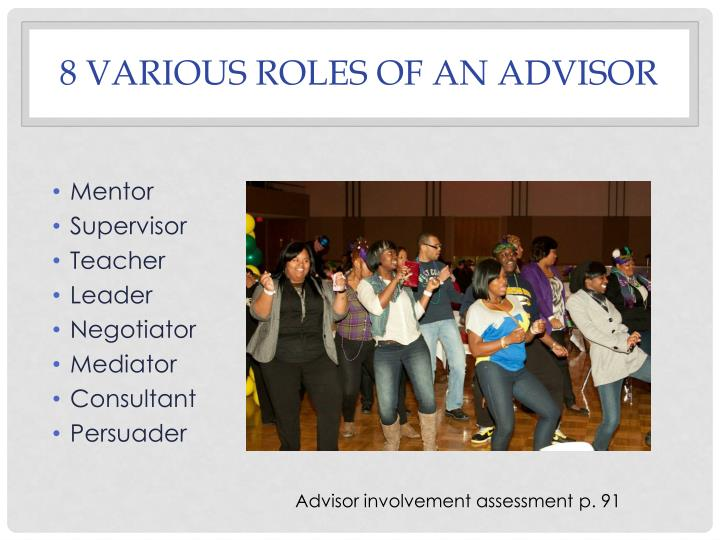 8 Various roles of an advisor