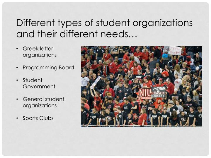 Different types of student organizations and their different needs…