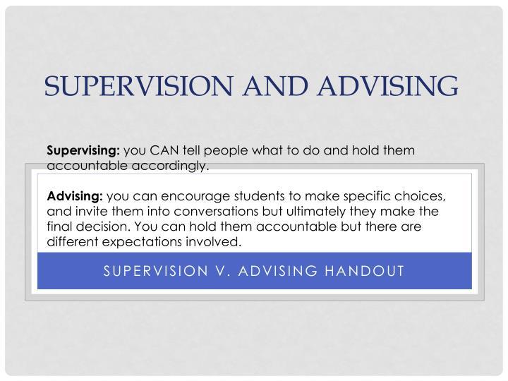 Supervising:
