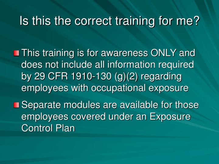 Is this the correct training for me?