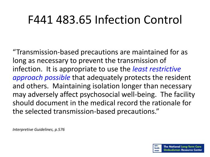 F441 483.65 Infection Control