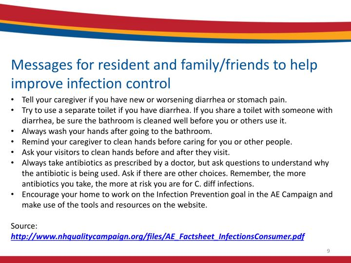 Messages for resident and family/friends to help improve infection control