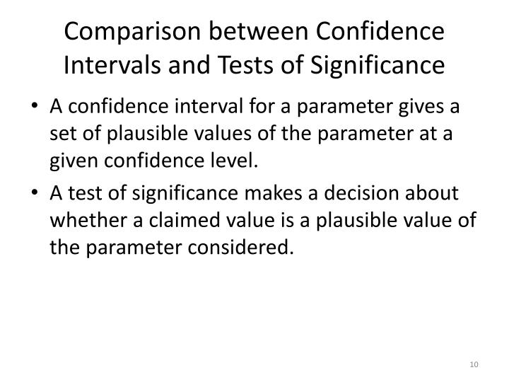 Comparison between Confidence Intervals and Tests of Significance