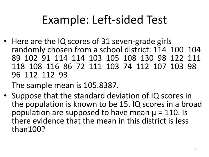 Example: Left-sided Test