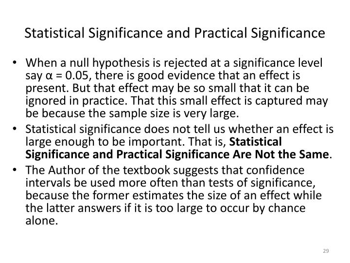 Statistical Significance and Practical Significance
