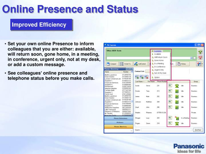 Online Presence and Status