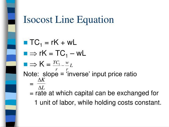 Isocost Line Equation