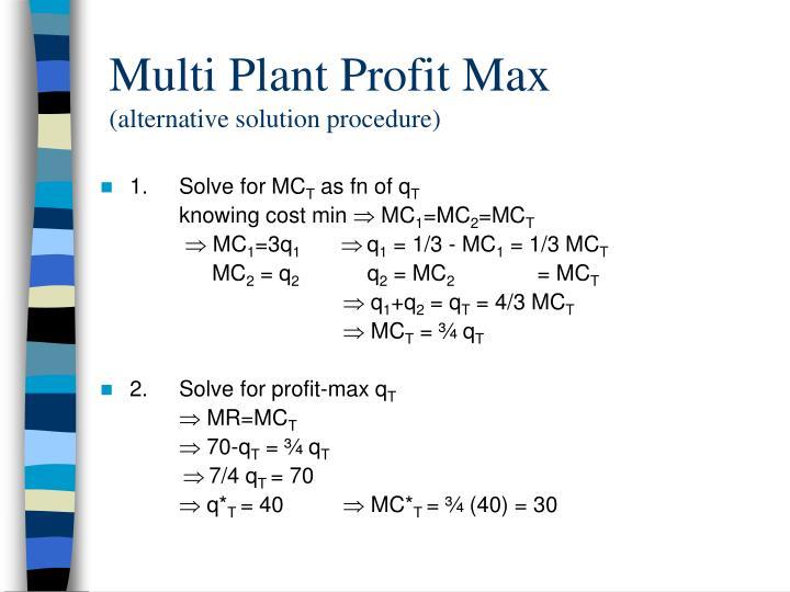Multi Plant Profit Max