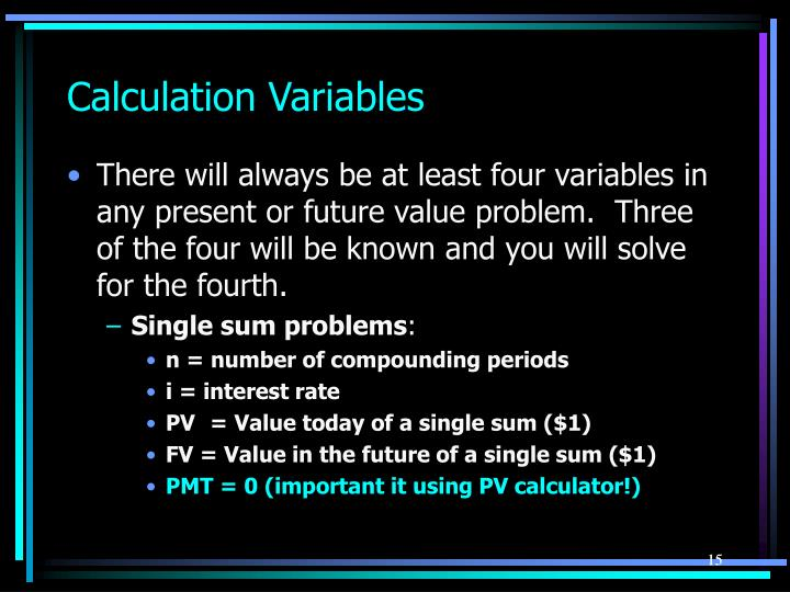 Calculation Variables