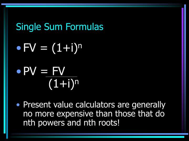 Single Sum Formulas