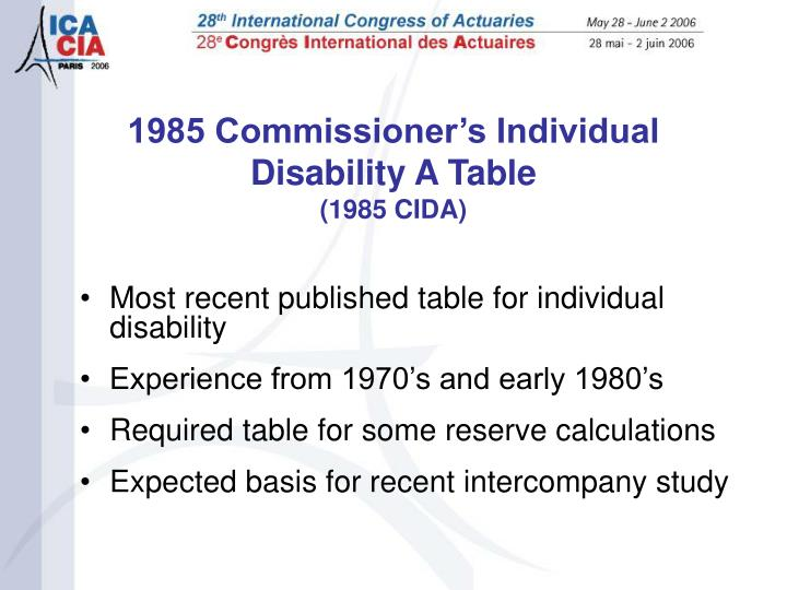 Most recent published table for individual disability
