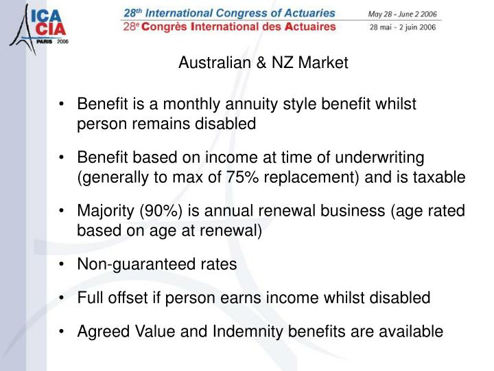 Benefit is a monthly annuity style benefit whilst person remains disabled