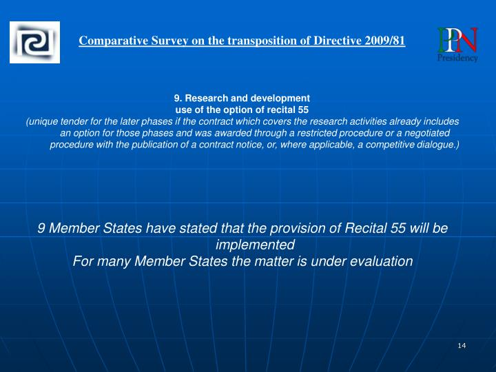 Comparative Survey on the transposition of Directive 2009/81
