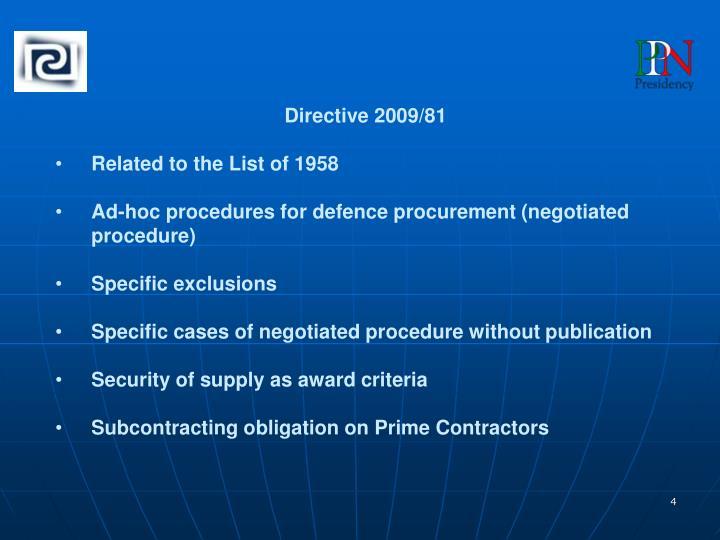 Directive 2009/81