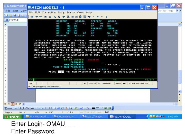 Enter Login- OMAU___