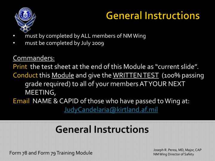 must by completed by ALL members of NM Wing
