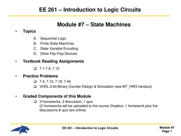 Ee 261 introduction to logic circuits