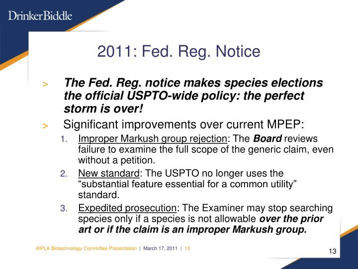 2011: Fed. Reg. Notice