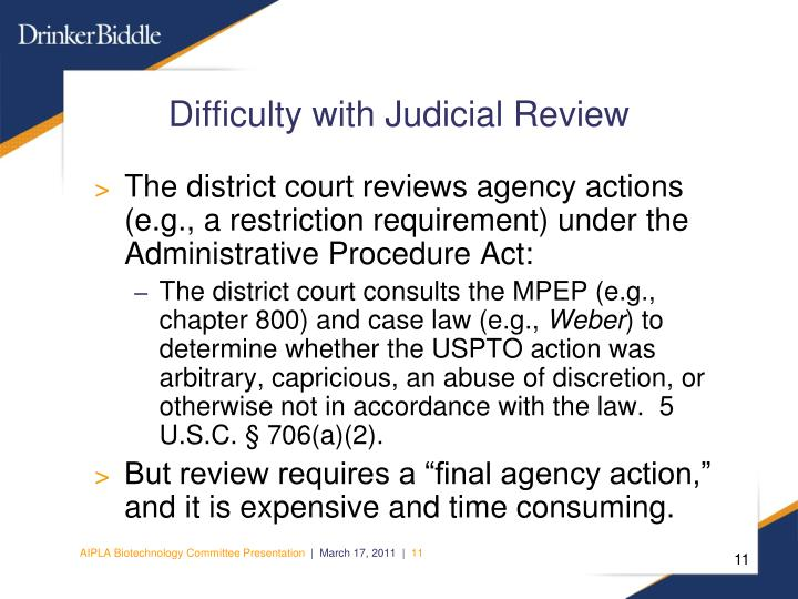 Difficulty with Judicial Review