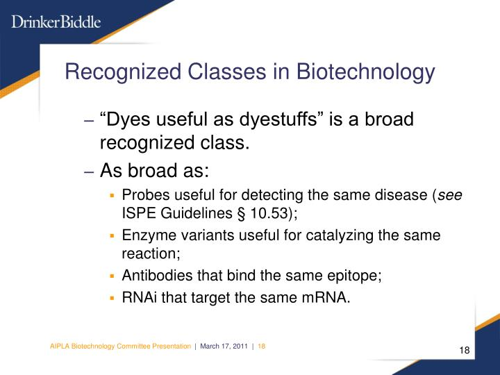 Recognized Classes in Biotechnology