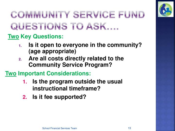 Community Service Fund Questions to Ask….