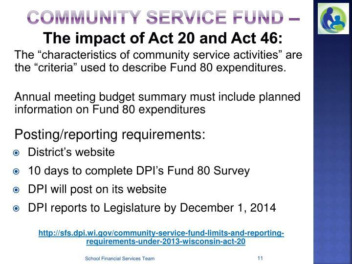 Community Service Fund –