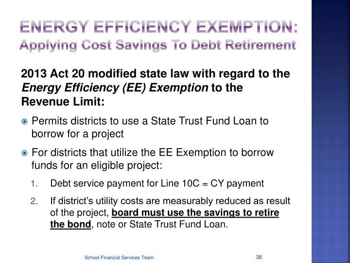 ENERGY EFFICIENCY EXEMPTION: