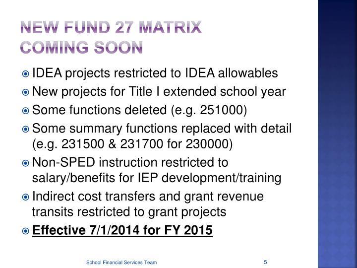 New Fund 27 Matrix
