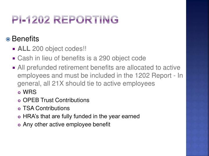 PI-1202 Reporting