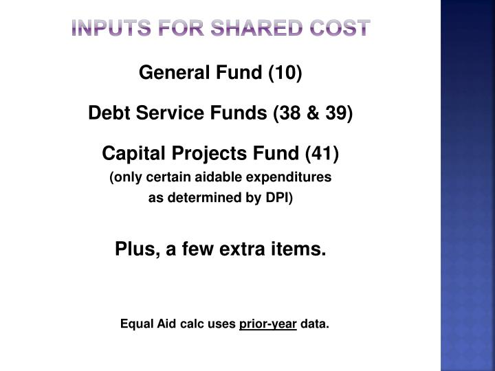 INPUTS FOR SHARED COST
