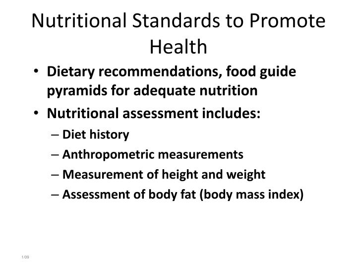 Nutritional Standards to Promote Health