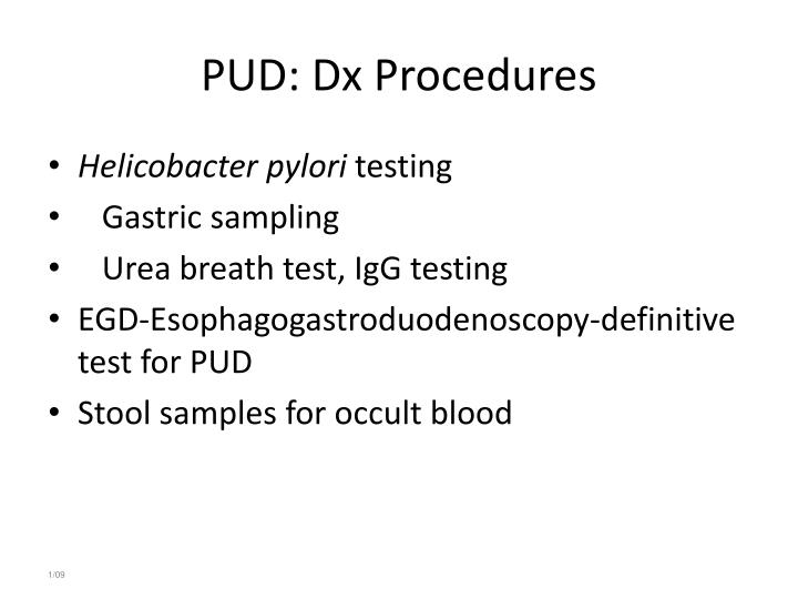 PUD: Dx Procedures